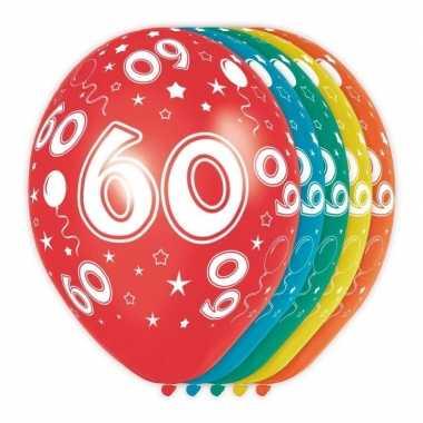 10x stuks 60 jaar thema versiering helium ballonnen 30 cm