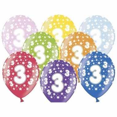 12x stuks ballonnen 3 jaar thema met sterretjes