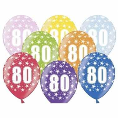 12x stuks ballonnen 80 met sterretjes
