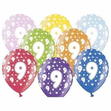 12x stuks ballonnen 9 jaar thema met sterretjes