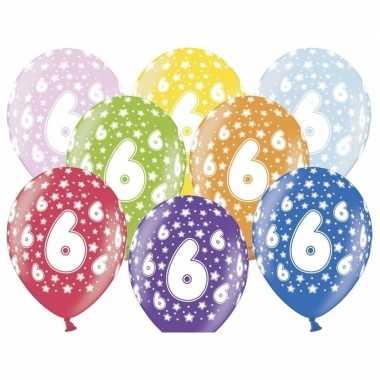 18x stuks verjaardag ballonnen 6 jaar met sterretjes 30 cm