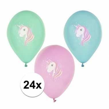 24x eenhoorn thema print ballonnen 29 cm