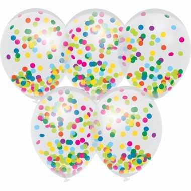 5x confetti thema feest ballonnen 30 cm