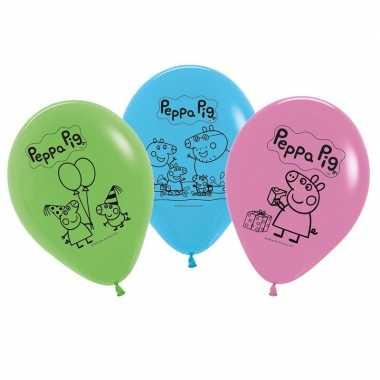 5x peppa pig themafeest ballonnen 30 cm