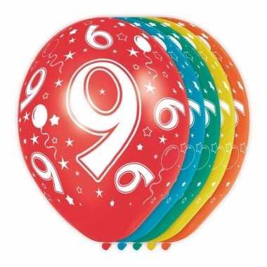 5x stuks 9 jaar thema versiering heliumballonnen 30 cm