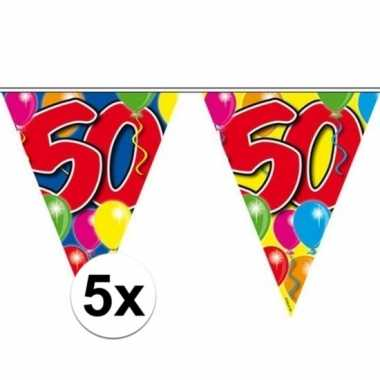 5x vlaggetjes lijn plastic 50 jaar 10 meter