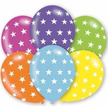 6x stuks verjaardag feest ballonnen met sterren print