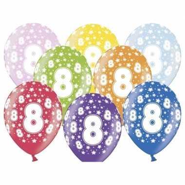 8 jaar leeftijd feestballonnen met sterretjes 30 cm 12 stuks
