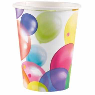 8x stuks feest bekertjes met ballonnen opdruk karton 250ml