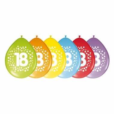 8x stuks verjaardag leeftijd ballonnen 18 jaar thema 29 cm