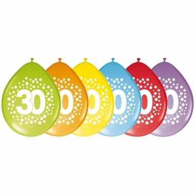 8x stuks verjaardag leeftijd ballonnen 30 jaar thema 29 cm