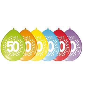 8x stuks verjaardag leeftijd ballonnen 50 jaar thema 29 cm