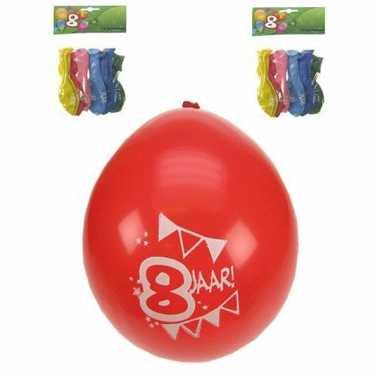 Ballonnen 8 stuks gekleurd 8 jarige