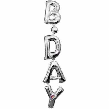 Folie ballon birthday zilver 96 cm