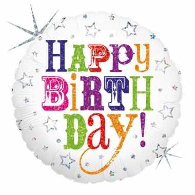 Folie ballon gefeliciteerd/verjaardag 46 cm met helium gevuld