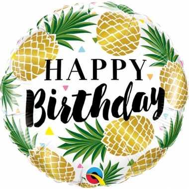 Folie ballon gefeliciteerd/verjaardag ananas 45 cm met helium gevuld