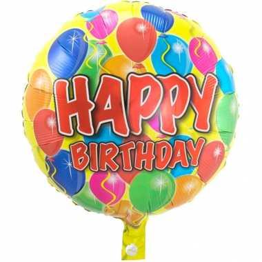 Folie ballon gefeliciteerd/verjaardag ballonnen 45 cm met helium gevu