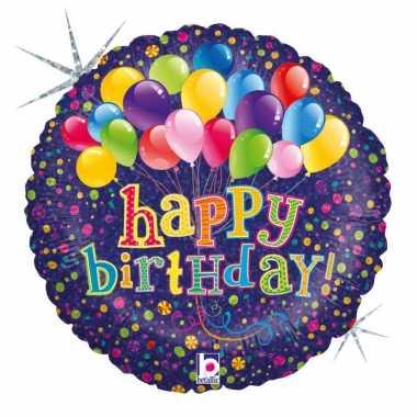 Folie ballon gefeliciteerd/verjaardag ballonnen 46 cm met helium gevu