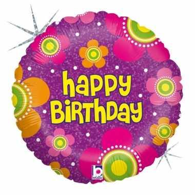 Folie ballon gefeliciteerd/verjaardag bloemen 46 cm met helium gevuld