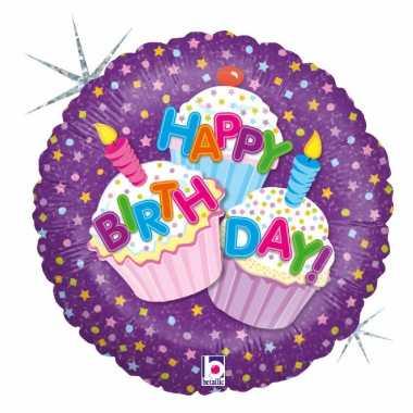 Folie ballon gefeliciteerd/verjaardag cup cakes 46 cm met helium gevu
