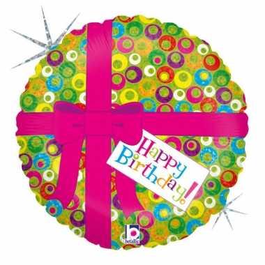 Folie ballon gefeliciteerd/verjaardag roze strik 46 cm met helium gev