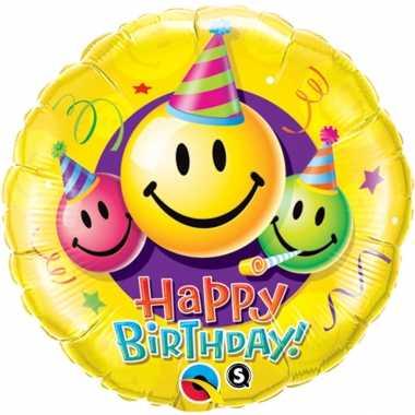 Folie ballon gefeliciteerd/verjaardag smiley 45 cm met helium gevuld