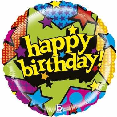 Folie ballon gefeliciteerd/verjaardag sterren 53 cm met helium gevuld