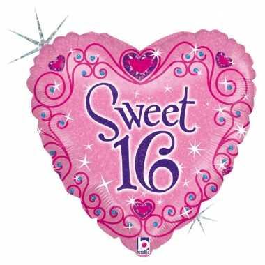 Folie ballon gefeliciteerd/verjaardag sweet 16/16e verjaardag 46 cm m
