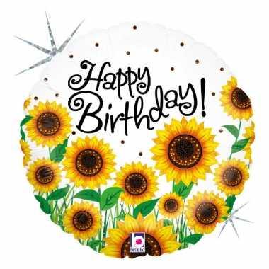 Folie ballon gefeliciteerd/verjaardag zonnebloem 46 cm met helium gev
