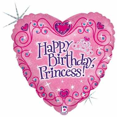 Folie ballon gefeliciteerd prinses/verjaardag princess 46 cm met heli