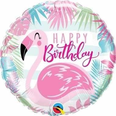 Folie ballon happy birthday flamingo 45 cm