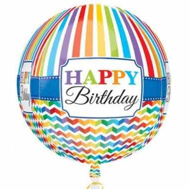 Folie ballon orbz/rond gefeliciteerd/verjaardag 40 cm met helium gevu