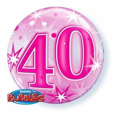 Folie helium ballon 40 jaar roze 55 cm