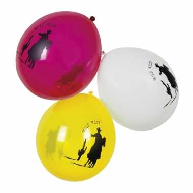 Gekleurde thema ballonnen cowboy 6 stuks