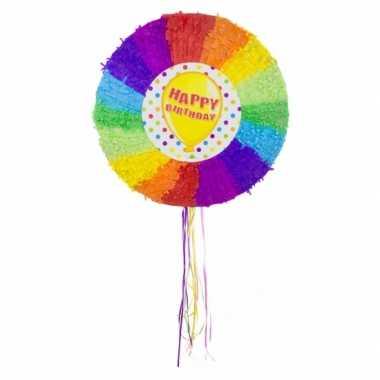 Pinatas rond happybirthday regenboog kleuren