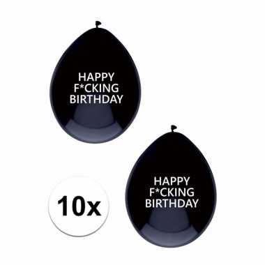 Zwarte fucking birthday ballonnen brutaal 10x