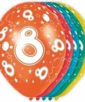 10x stuks 8 jaar thema versiering helium ballonnen 30 cm