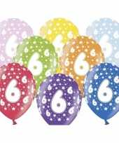 12x stuks verjaardag ballonnen 6 jaar met sterretjes 30 cm