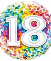 Folie ballon 18 jaar confettiprint 45 cm met helium gevuld