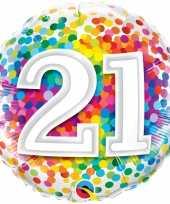 Folie ballon 21 jaar confettiprint 45 cm met helium gevuld
