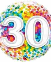 Folie ballon 30 jaar confettiprint 45 cm met helium gevuld