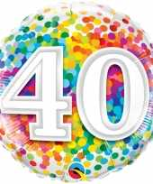 Folie ballon 40 jaar confettiprint 45 cm met helium gevuld