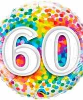 Folie ballon 60 jaar confettiprint 45 cm met helium gevuld