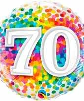 Folie ballon 70 jaar confettiprint 45 cm met helium gevuld