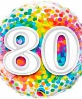 Folie ballon 80 jaar confettiprint 45 cm met helium gevuld