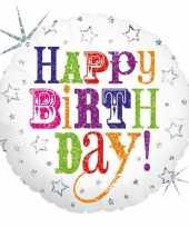 Folie ballon gefeliciteerd happy birthday 46 cm met helium gevuld