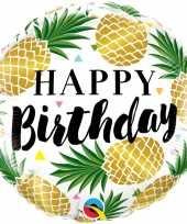 Folie ballon gefeliciteerd happy birthday ananas 45 cm met helium gevuld