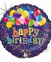 Folie ballon gefeliciteerd happy birthday ballonnen 46 cm met helium gevuld