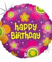 Folie ballon gefeliciteerd happy birthday bloemen 46 cm met helium gevuld
