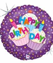 Folie ballon gefeliciteerd happy birthday cup cakes 46 cm met helium gevuld